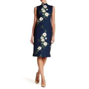 Sharagano Sleeveless Floral Print Dress Plus Size